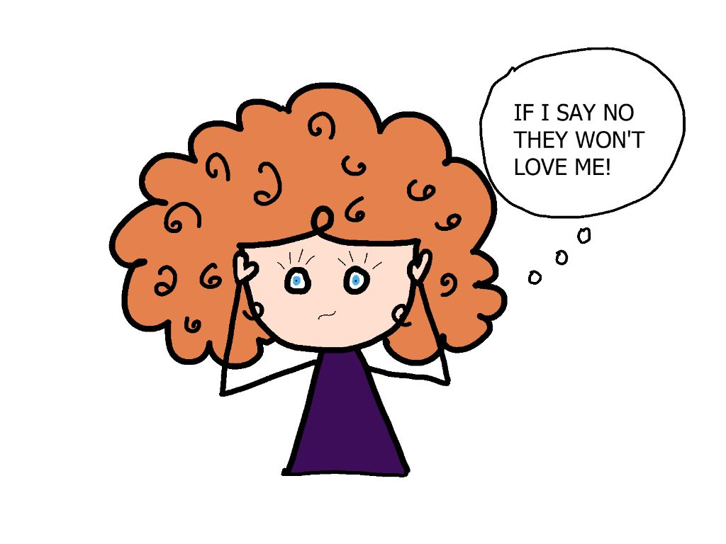 cartoon girl worried that setting boundaries will make people not like her