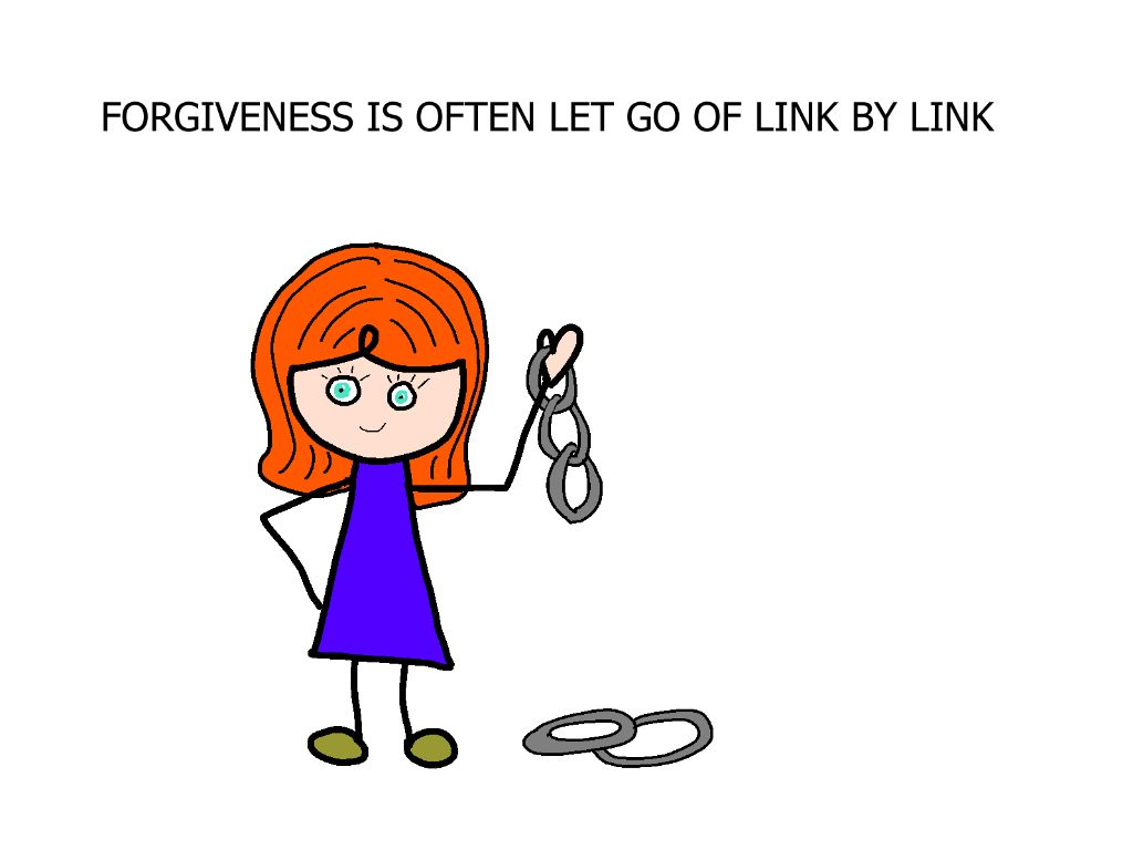 cartoon girl holding some links with some broken off on the floor, illustrating forgiveness
