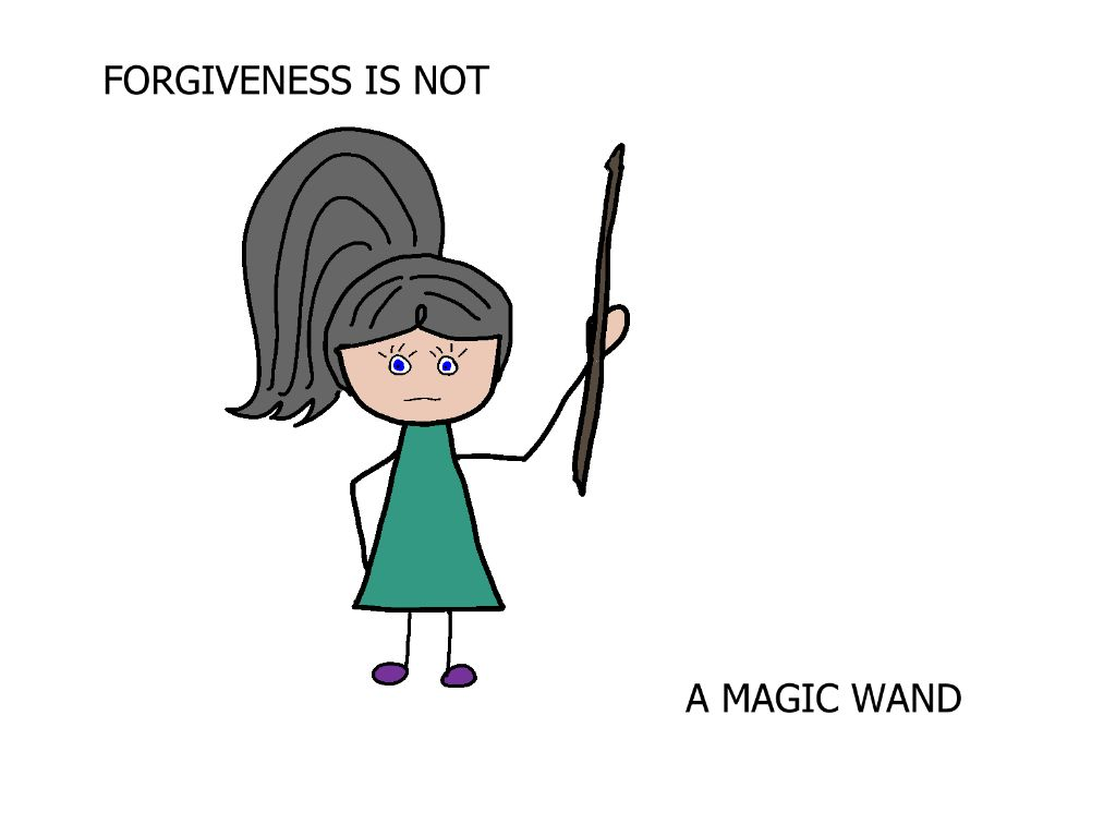 cartoon girl holding magic wand, this is not forgiveness