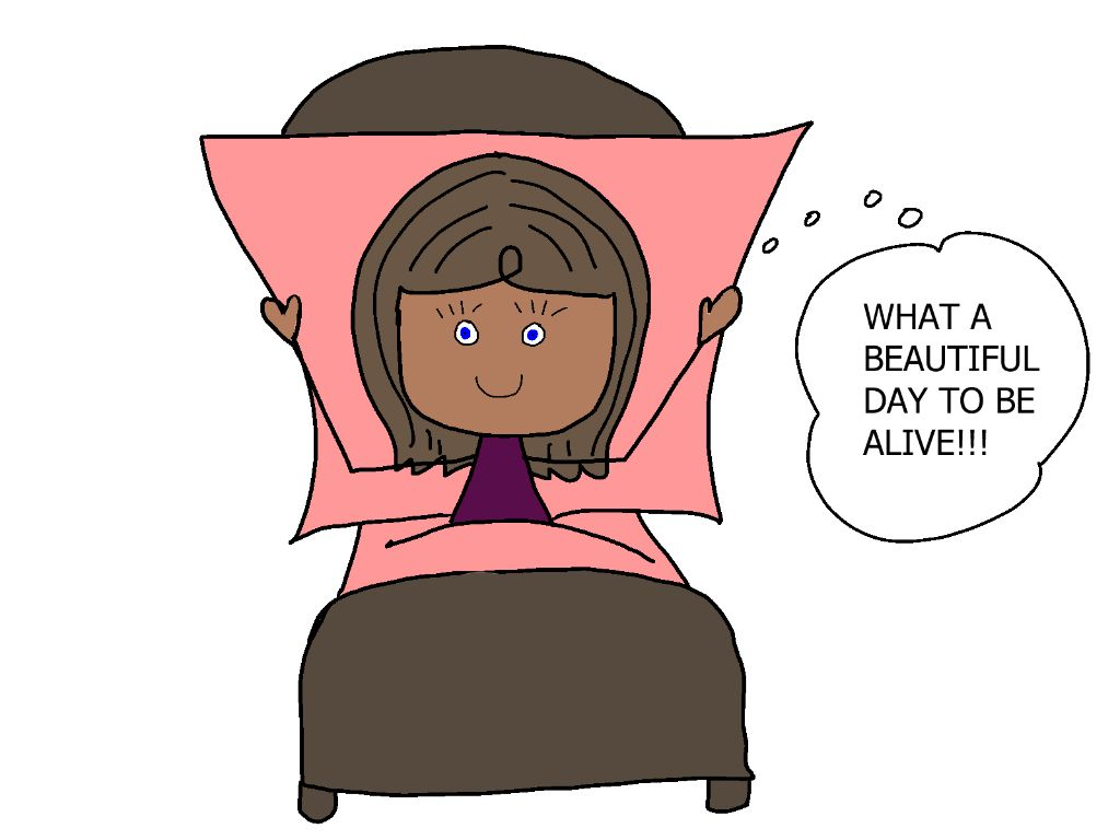 cartoon girl in bed grateful for the day