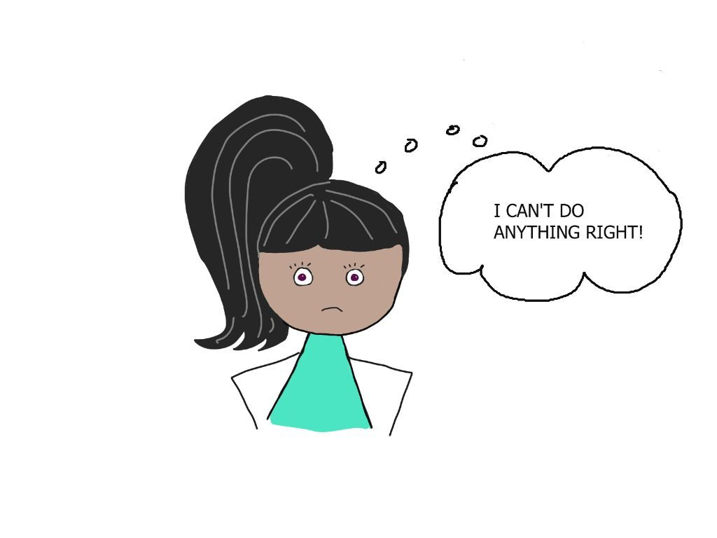 cartoon girl says I can't do anything right