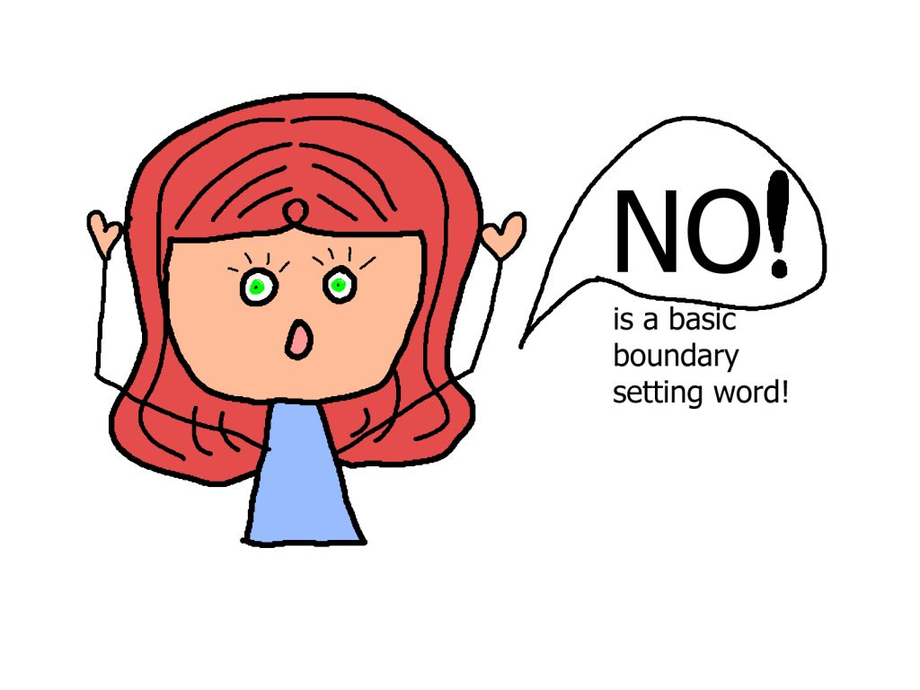cartoon saying No is a basic boundary setting word