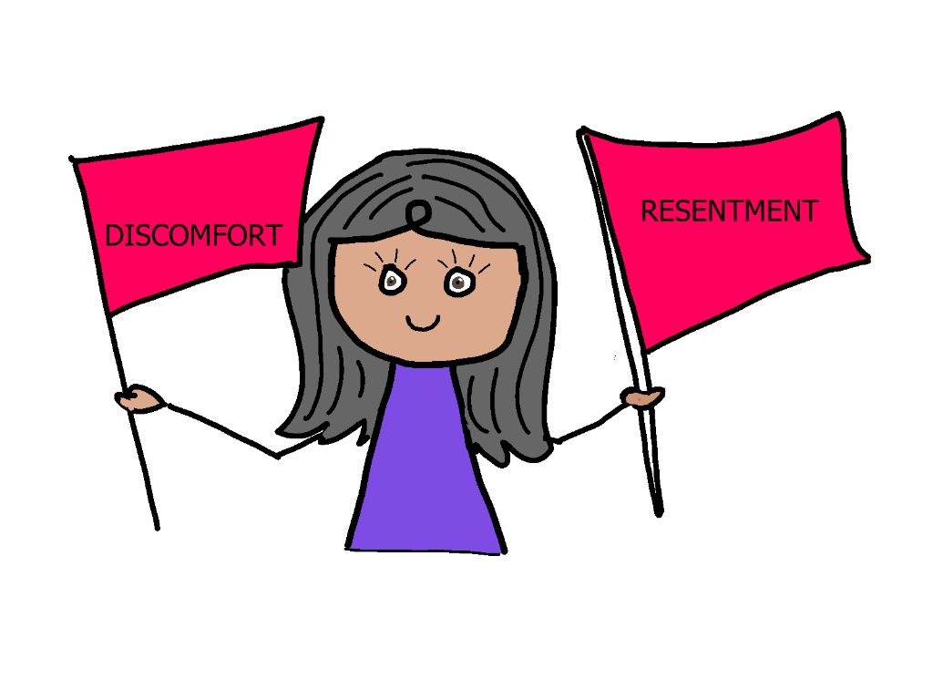 cartoon girl holding red flags of discomfort and resentment that comes as a result of poor boundaries