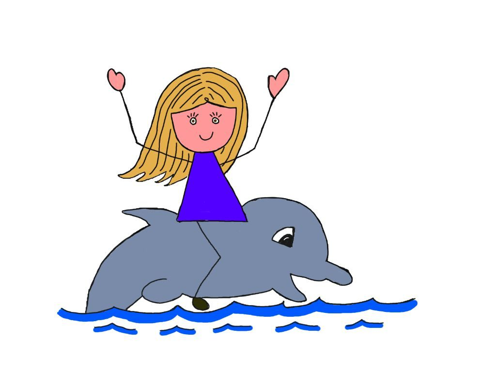 cartoon girl living her dream of swimming with a dolphin