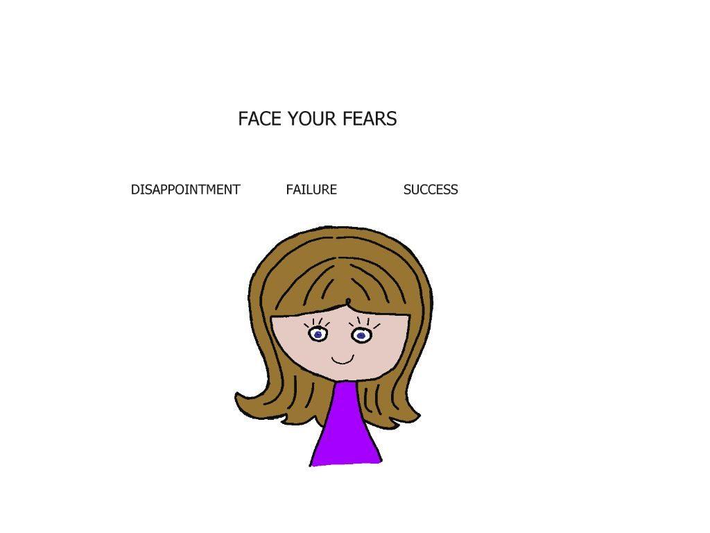 cartoon girl facing her fears