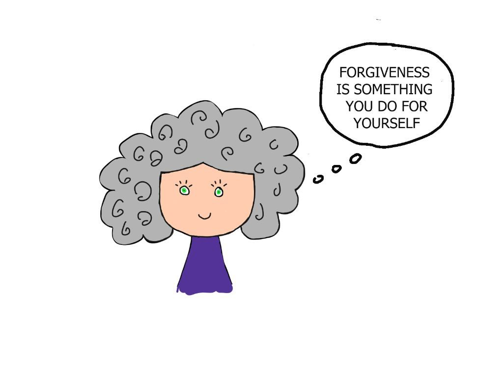 cartoon drawing of girl thinking forgiving yourself helps you get unstuck