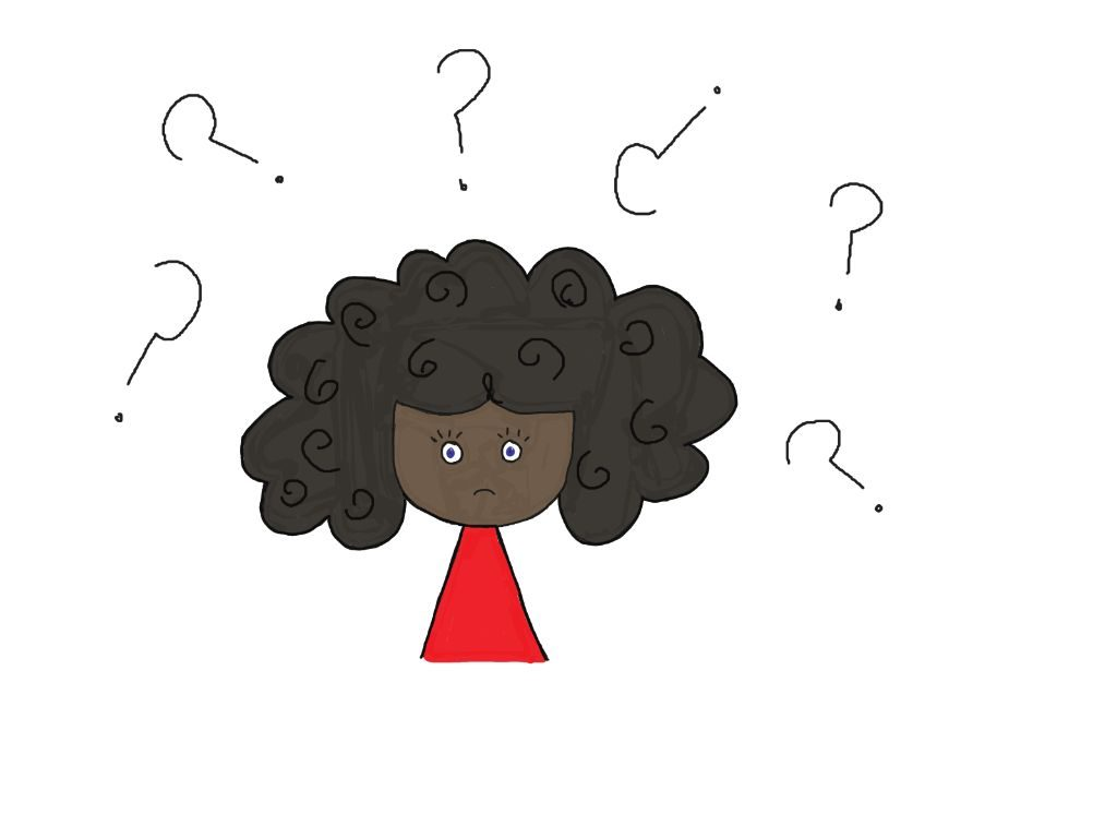 cartoon with questions around her head wondering how change self talk