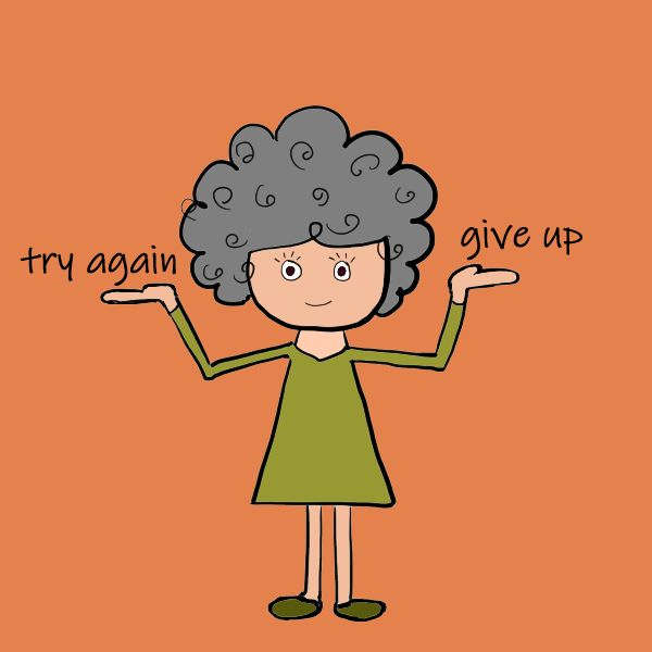 cartoon girl weighing her discouragement and encouragement